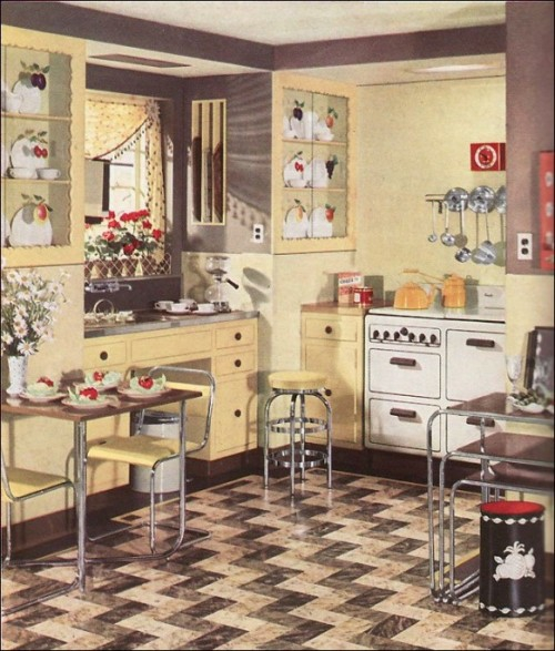 set up retro kitchens designs dining area