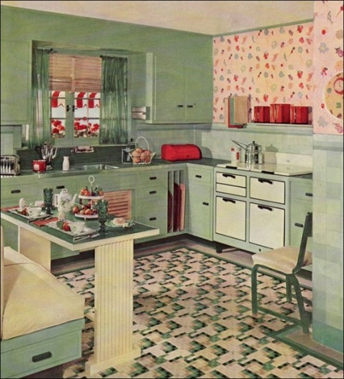 retro kitchens designs green wall