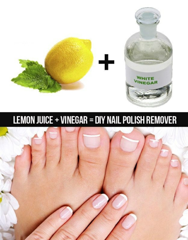 properly nails varnish vinegar lemon juice