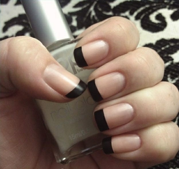 properly nails paint french black nail polish design