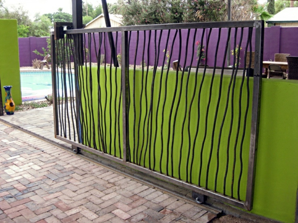 roll garden gate made of metal as a visual protection