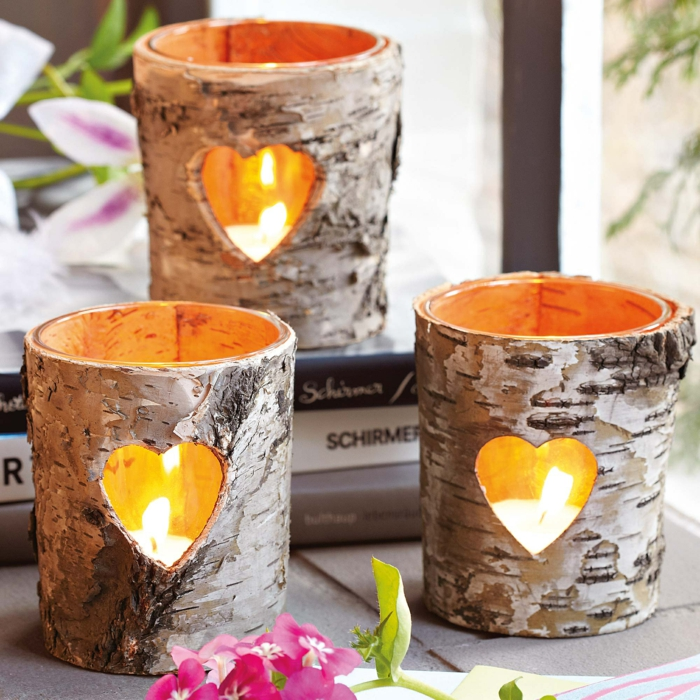 Romantisk Living DIY Vindlys Birch Bark Tealights