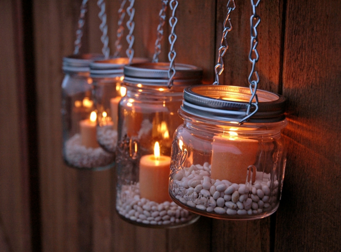 Romantisk Living DIY Vindelys Mason Jars Beans