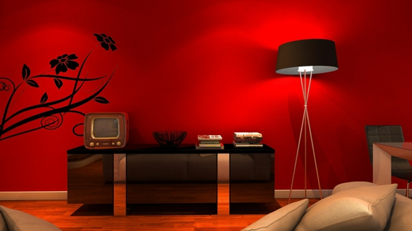 red wallpaper with black pattern