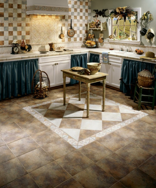 rustic idea eclectic tile wood kitchen dining room french