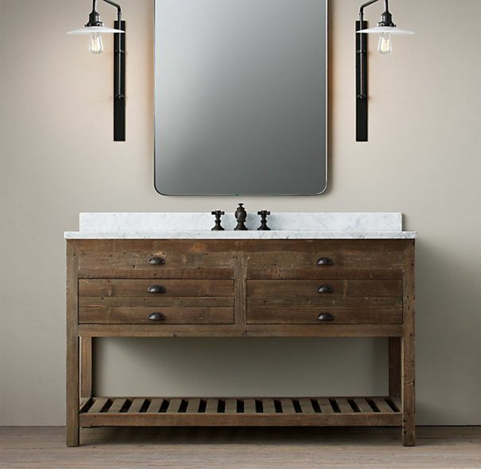 rustic bathroom ideas vanity wood with bin