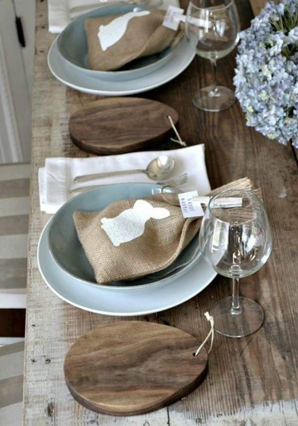 rustic table decoration easter wooden table