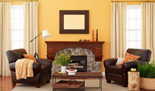 rustic living room ideas design leather armchair built-in fireplace