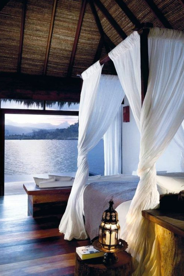 bedroom design canopy panoramic sea