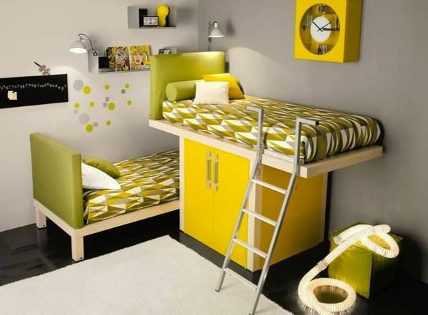 bedroom for kids shape yellow furniture bed cupboard