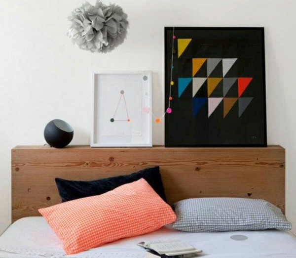 bedroom headboard colorful upholstered urban geometric