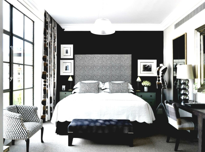 bedroom black black accent wall curtain pattern