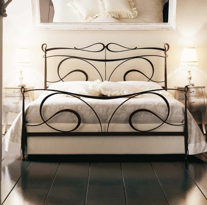 wrought iron bed abstract curved lines calligraphy