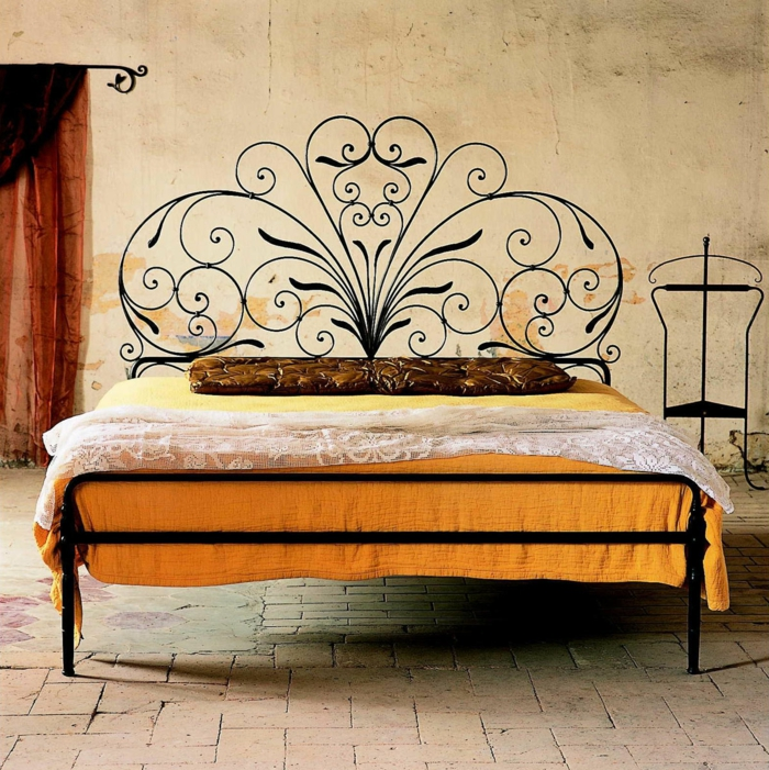 wrought iron bed design floral tendril caporali