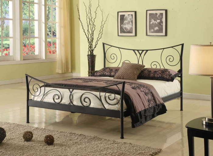 wrought iron bed design black scroll ornament modern lvluxhome