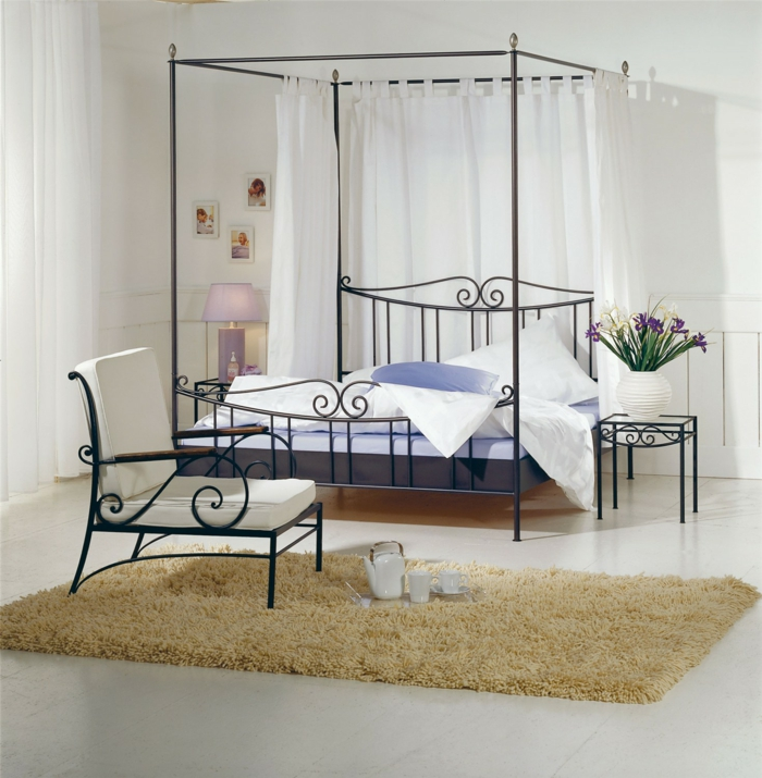 wrought iron bed elegant design black bedside venezia hasena