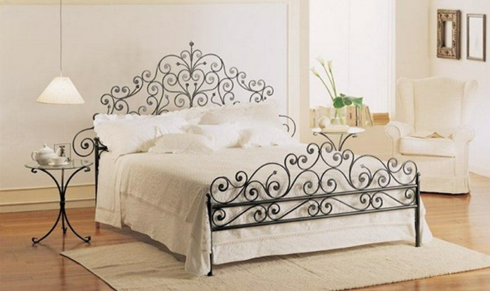 wrought iron bed curved ornaments tendrils
