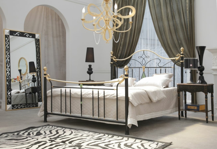 wrought iron bed gold colonial style luxury