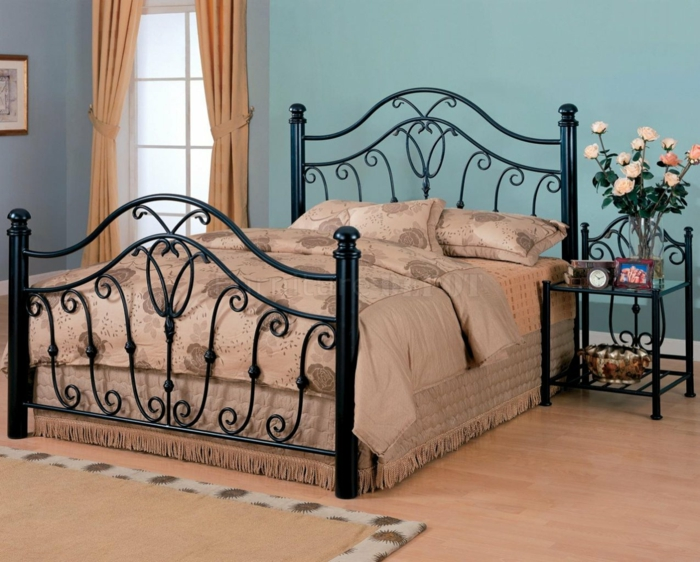 wrought iron bed black frame curved lines ornaments