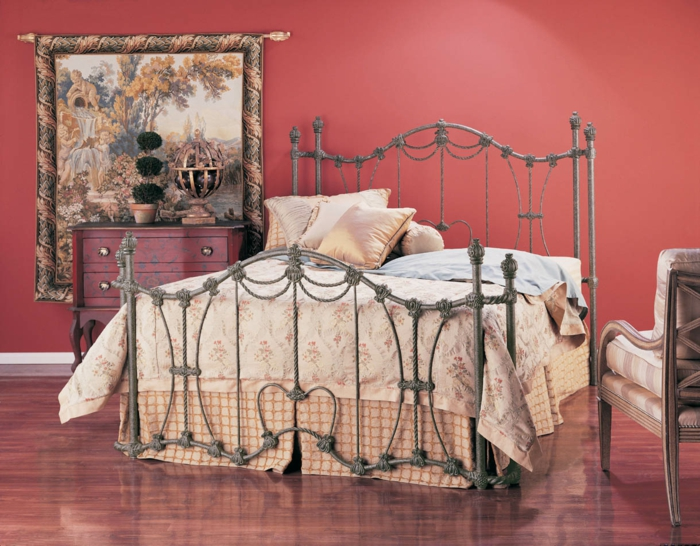 wrought iron bed silver baroque style elegant