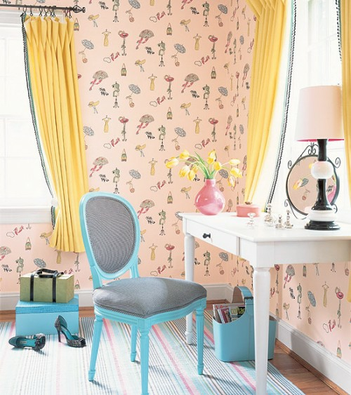 dressing table blue colors yellow pale pink wallpaper playful gardinene chair french