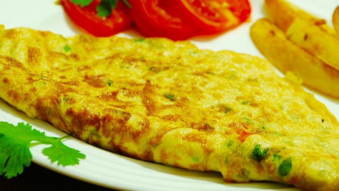 eating fast food egg omelet cheese coriander