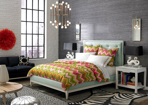 black bedroom furniture sofa chavron pattern colorful