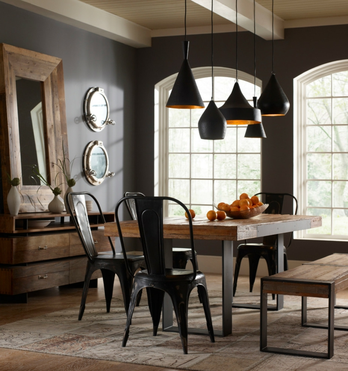 black wall color dining room design rustic dining room carpet mirror