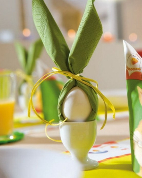 napkin idea white easter deco table