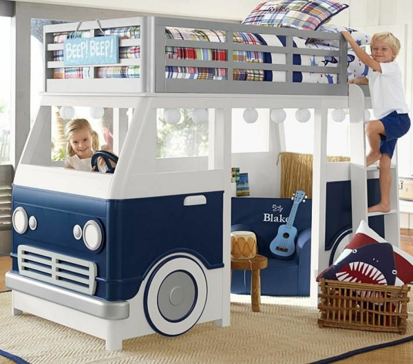 bunk bed in the boy's room car motive