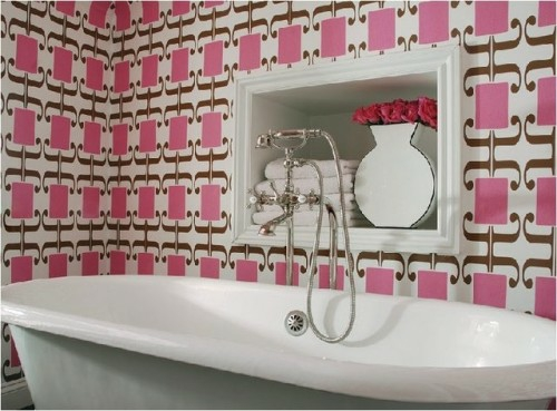 wallpaper ideas in bathroom pink pattern abstract