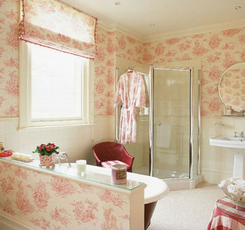 wallpaper ideas in the bathroom pink pattern subtle bathrobe