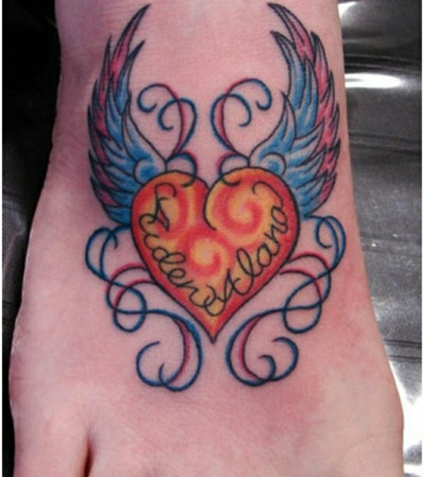 tattoo on the foot tattoos pictures heart