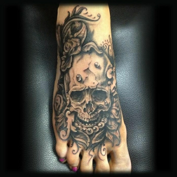 tattoos pictures stylish tattoo on the foot skull