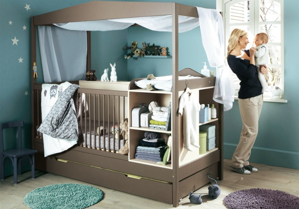 wall color pigeon blue baby room design baby bed wall design ideas