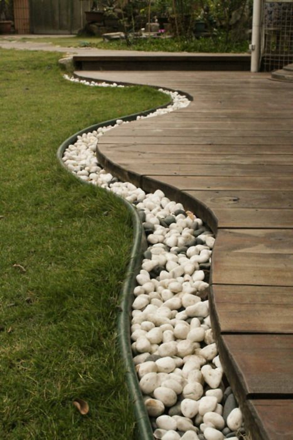decking edge pebbles grass porch build american wooden houses