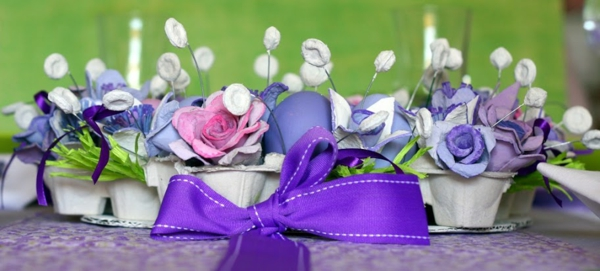 table decoration to easter purple eggs easter decoration purple bow