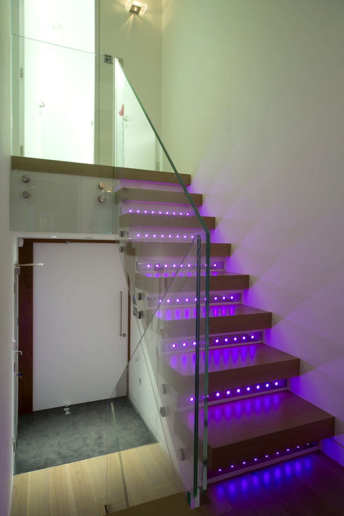 staircase lighting ideas colored light led lighting