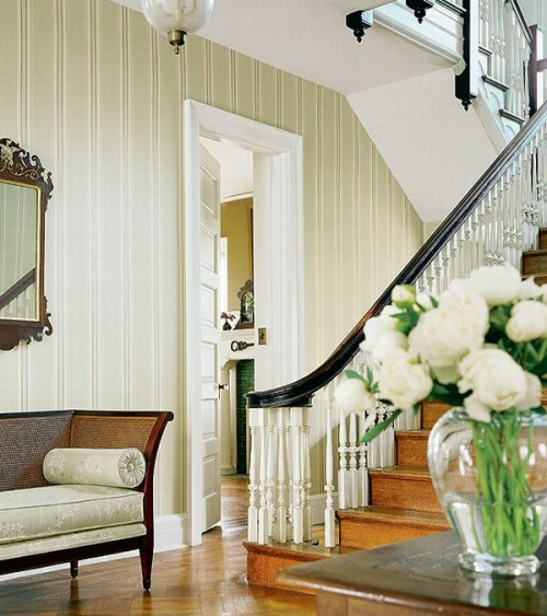 staircase idea couch wall mirror french style rustic house