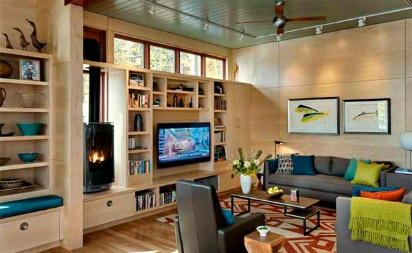 tv living room wall mounted wall cladding wood