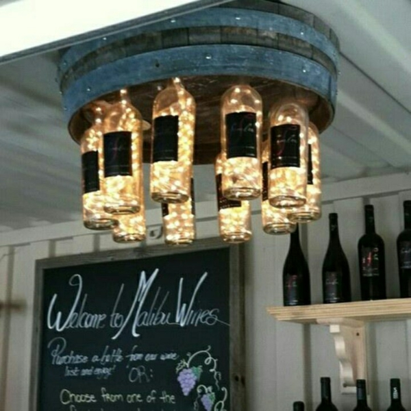 Unique designer light up DIY lamp from wine bottle