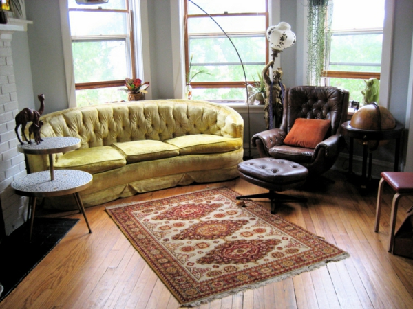 vintage furniture living room carpet yellow sofa armchair
