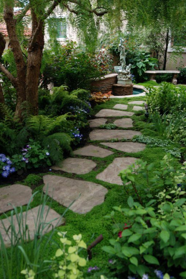 front garden landscaping garden path stone plates plant