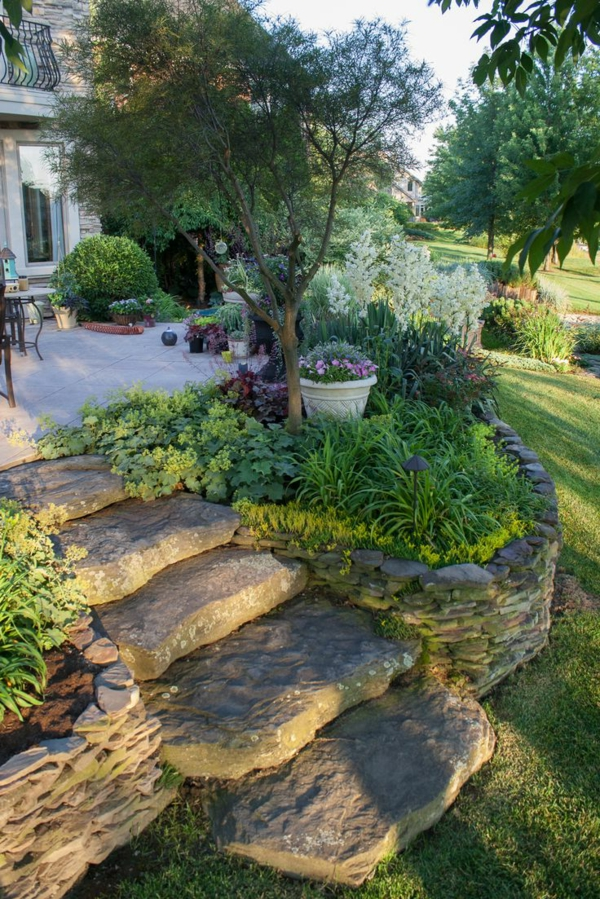 front garden shape stairs stone plant
