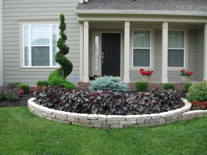 garden design decorating plant beds with stones