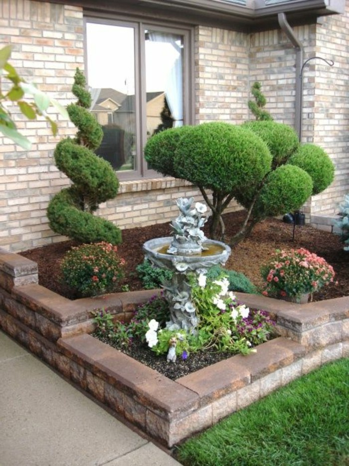 front garden design unusual deco ideas with beautiful plants and garden fountain