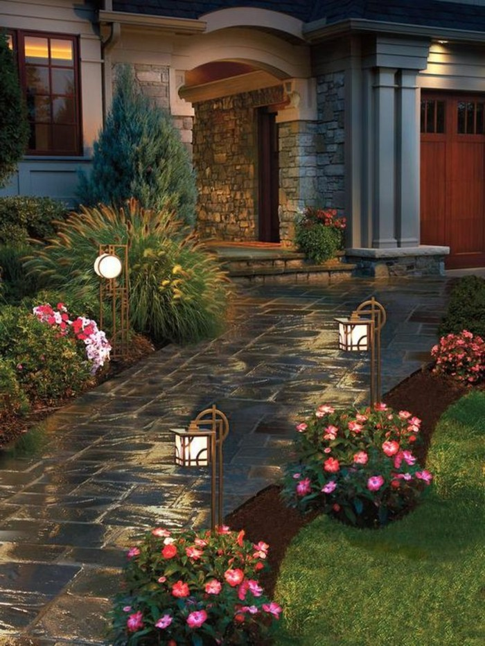 front garden design with romantic lighting and beautiful flowers