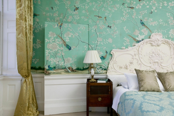 wall paint turquoise asian flair bedroom