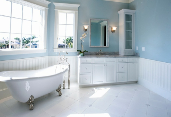 wall paint turquoise bath claw foot bathtub
