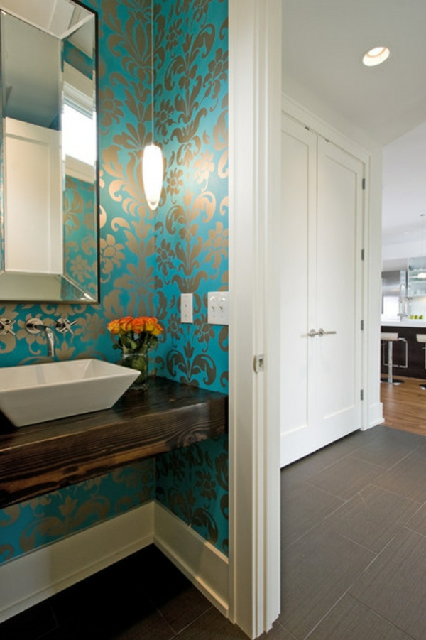 wall paint turquoise bathroom pattern wallpaper